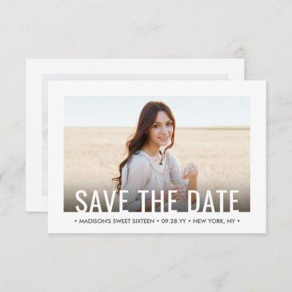 2 Photo Sweet 16th Birthday Party Modern Sixteenth Save The Date