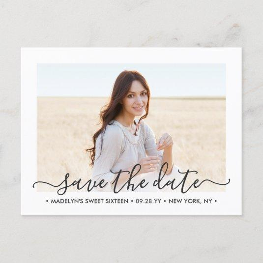 2 Photo Sweet 16th Birthday Script Save the Date Announcement