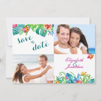 2 Photo Tropical Berry Pink Teal Floral Chevron Save The Date
