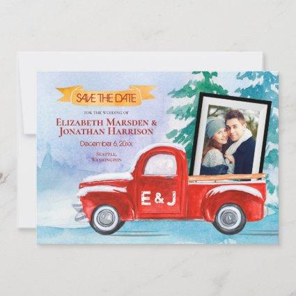 2 Photo Vintage Red Truck Winter Christmas Save The Date