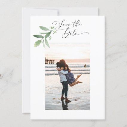 2 Sided Save the Date Photo Card - greenery