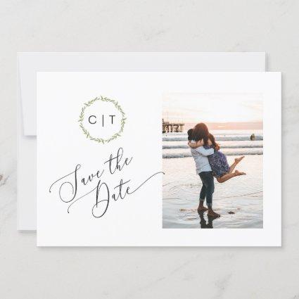 2 Sided Save the Date Photo Card, Monogram initial