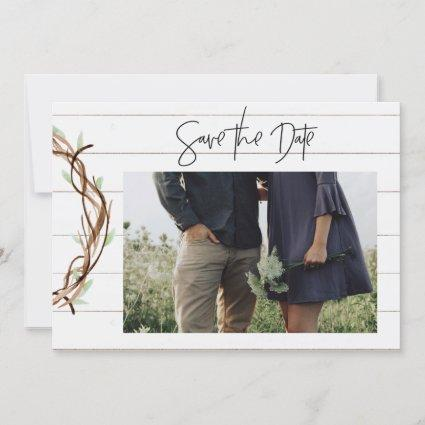 2 Sided Save the Date Photo Card  - shiplap