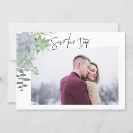 2 Sided Save the Date Photo Card  - succulents