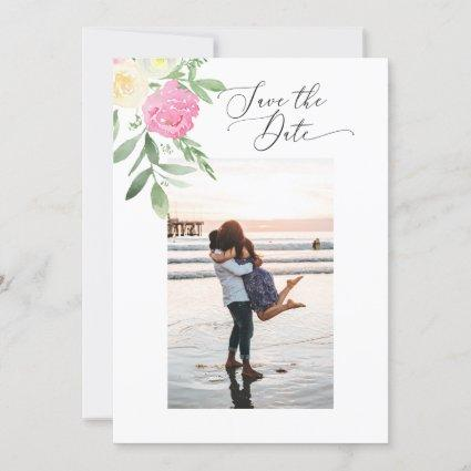 2 Sided Save the Date Photo Card watercolor flower