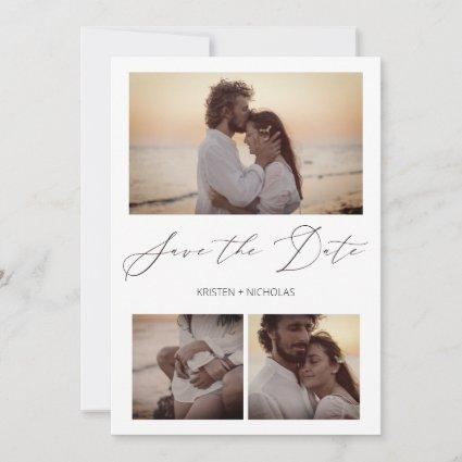 3 Elegant Photos Snapshots Happy Couple Session Save The Date