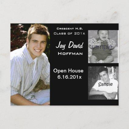 3 photo collage graduation Announcements