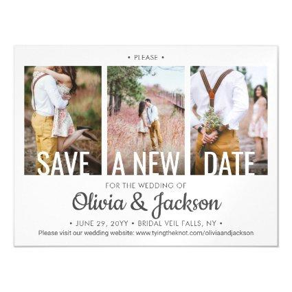 3 Photo Wedding Postpone | Change | Save the Date Magnetic Invitation