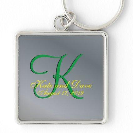 3d Monogram Faux Pewter Keychain