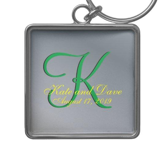 3d Monogram Pewter Silver-Colored Square Keychain