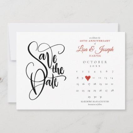 40th Anniversary Save the Date Calendar Ruby Heart