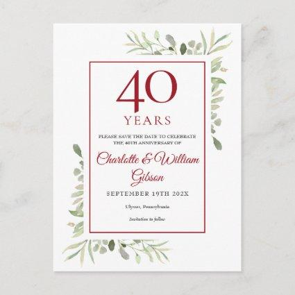 40th Anniversary Save the Date Greenery