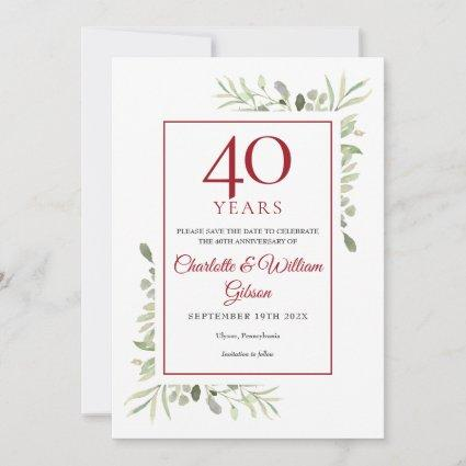 40th Anniversary Save the Date Watercolor Greenery