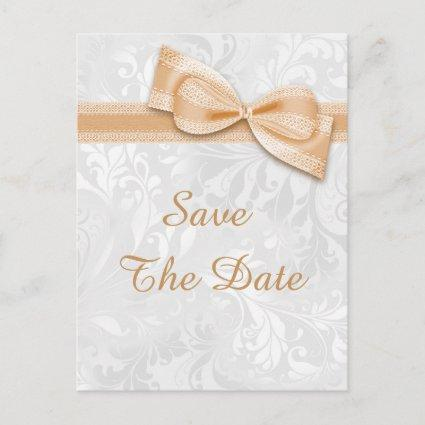 40th Birthday Damask and Faux Bow Save The Date Announcement