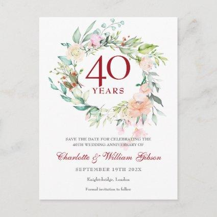 40th Ruby Anniversary Save the Date Roses Garland