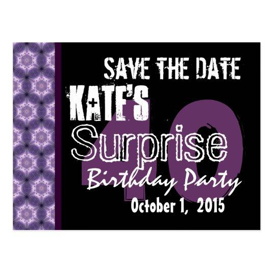 40th Surprise Birthday Save The Date Purple Black Save The