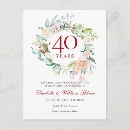 40th Wedding Ruby Anniversary Save the Date Floral Announcement