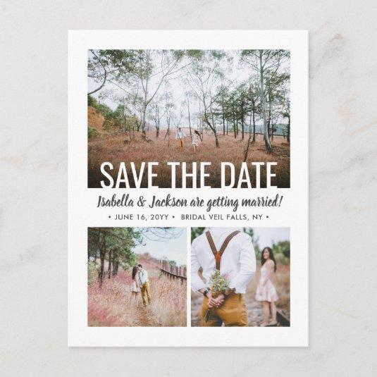 4 Photo Modern Typography Save the Date Engagement Announcement