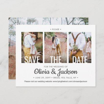 4 Photo Modern Typography Unique Simple Wedding Save The Date