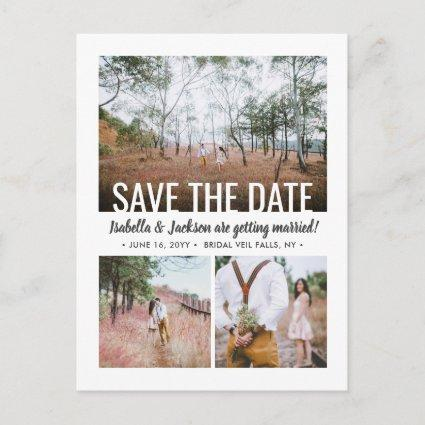 4 Photo Modern Typography Wedding Save the Date Announcement