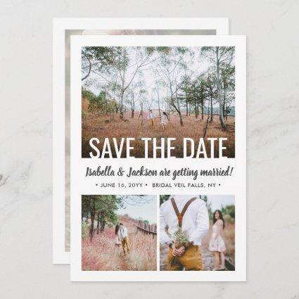 4 Photo Simple Modern Minimal Typography Wedding Save The Date