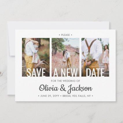 4 Photo Simple Modern Wedding Postponement Change Save The Date