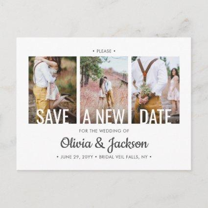 4 Photo Wedding Change the Date Postponed Plans Announcement