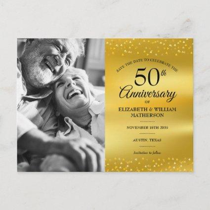 50th Anniversary Gold Foil Save the Date Photo Announcement