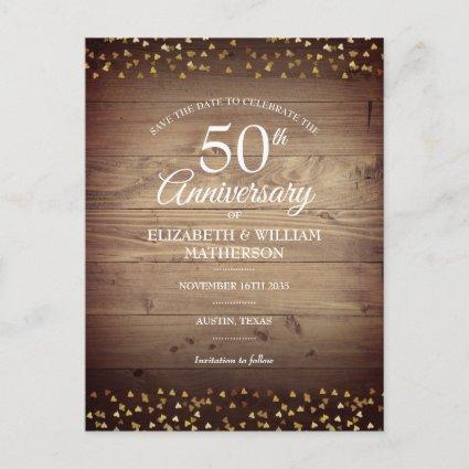 50th Anniversary Gold Hearts Rustic Save the Date Announcement