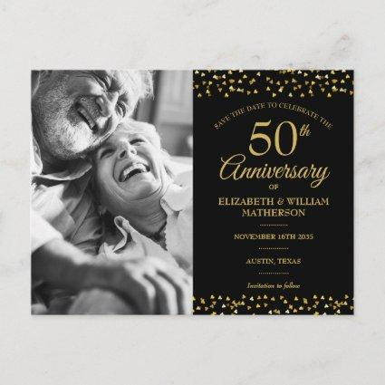 50th Anniversary Gold Hearts Save the Date Photo Announcement