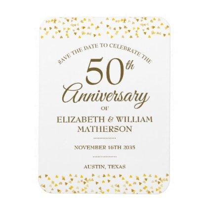 50th Anniversary Golden Hearts Save the Date Magnet