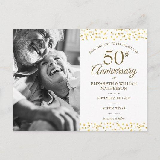 50th Anniversary Golden Hearts Save the Date Photo Announcement