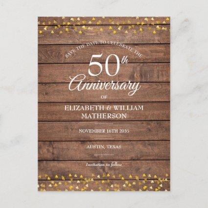 50th Anniversary Golden Hearts Wood Save the Date  Announcement