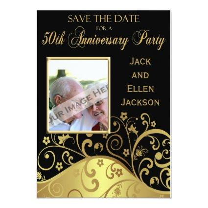 50th Anniversary Party Save the Date With Photo 5x7 Paper Invitation Card