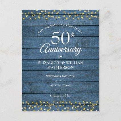 50th Anniversary Rustic Gold Hearts Save the Date Announcement