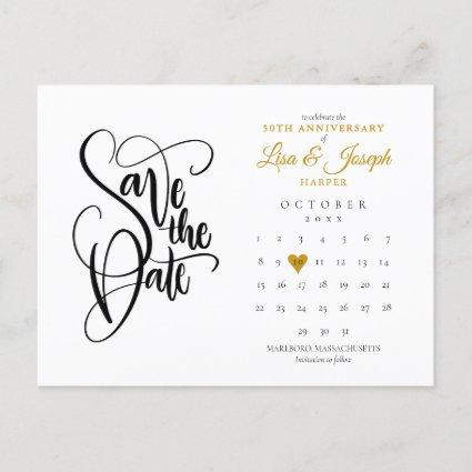 50th Anniversary Save the Date Calendar Gold Heart Announcement