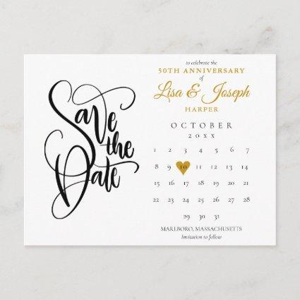 50th Anniversary Save the Date Calendar Gold Heart