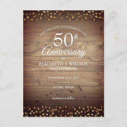 50th Anniversary Save the Date Gold Hearts Rustic