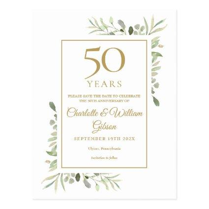 50th Anniversary Save the Date Greenery