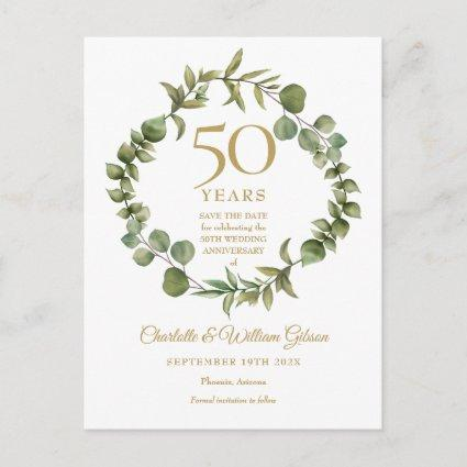 50th Anniversary Save the Date Woodland Greenery  Announcement