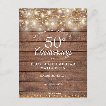 50th Anniversary String Lights Wood Save the Date Announcement