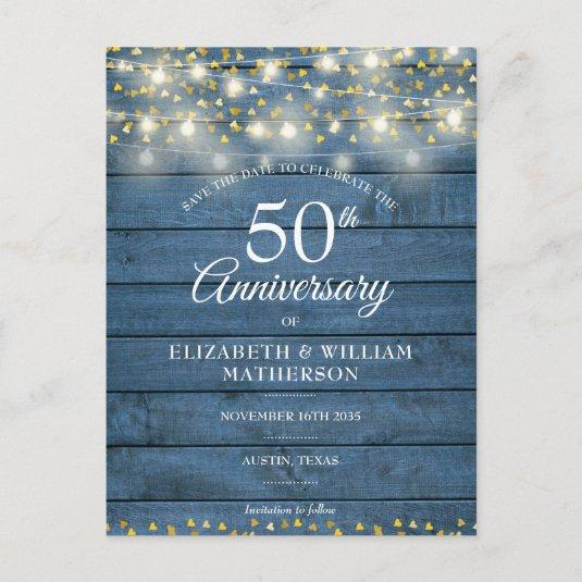 50th Anniversary Wood String Lights Save the Date Announcement