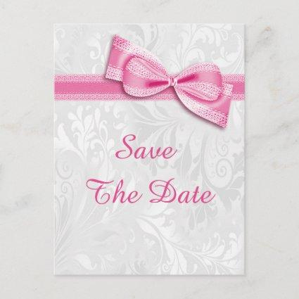 50th Birthday Damask and Faux Bow Save The Date Announcement