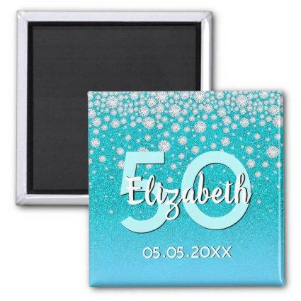 50th birthday diamonds glitter teal blue green magnet