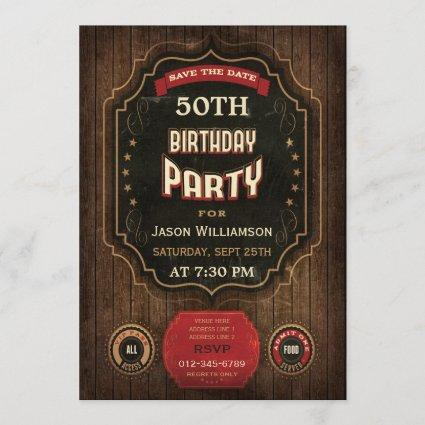 50th Birthday Save The Date Chalkboard & Wood