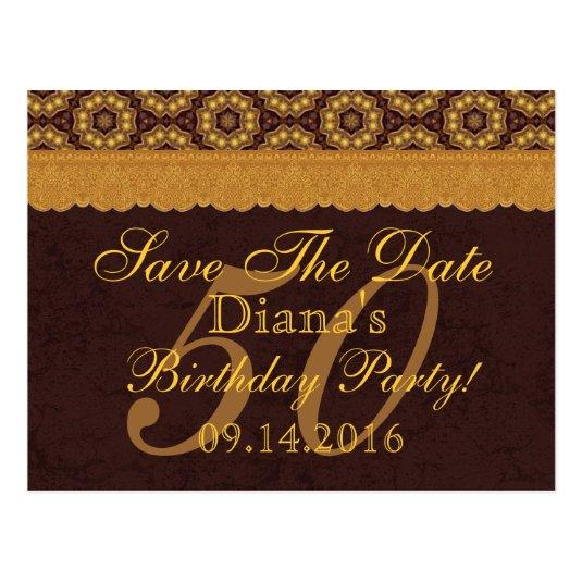 50th birthday chocolate gold lace 04 cards save the date cards