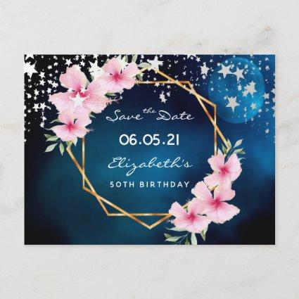 50th birthday Save the Date tropical blue stars