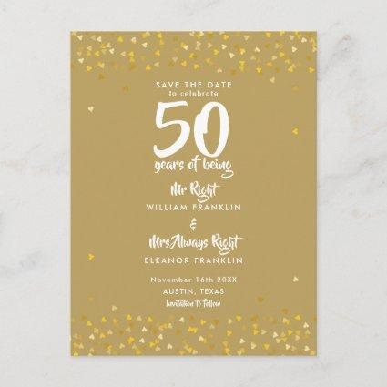 50th Golden Anniversary Mr Mrs Right Save the Date Announcement