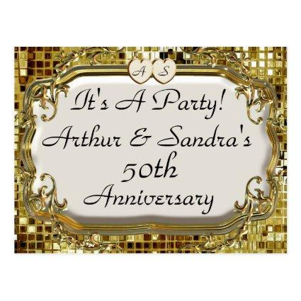 50th Golden Anniversary Party Invitation Cards