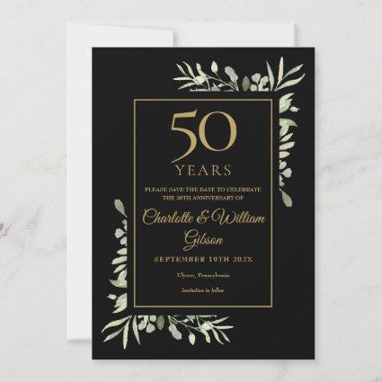 50th Golden Anniversary Save the Date Gold Black